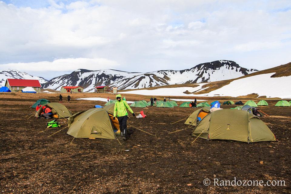 Un de nos campements sur le trek du Laugavegur en Islande